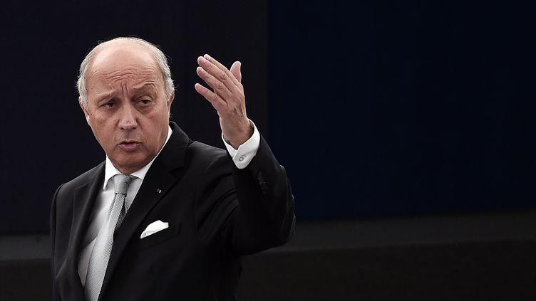 Laurent Fabius s'exprime lors d'un débat sur les suites de la COP21, le 20 janvier 2016, au Parlement européen, à Strasbourg (Bas-Rhin). (FREDERICK FLORIN / AFP)