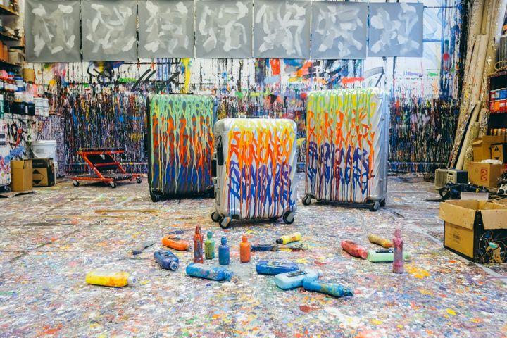Les valises de la marque Tumi graffées par l'artiste JonOne, février 2020 (©TOINE. TOINEBEHIND.COM)