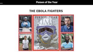 Capture d'écran du site du magazine américain Time, qui a dévoilé ses unes consacrées à ceux qui combattent Ebola, le 10 décembre 2014. (TIME MAGAZINE)