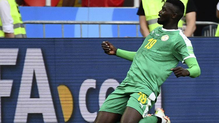 Le joueur sénégalais Mbaye Niang après son but lors de la rencontre du Mondial Pologne-Sénégal mardi 19 juin 2018 à Moscou. (FRANCK FIFE / AFP)
