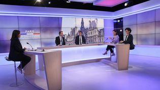 Rachida Dati, Agnès Buzyn etAnne Hidalgo, lors du débat pour le second tour des élections municipales, le 17 juin 2020, à Paris. (THOMAS SAMSON / AFP)