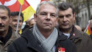 Le leader de la CGT, Thierry Lepaon, le 26 novembre 2013 à Paris. (NICOLAS KOVARIK / CITIZENSIDE.COM / AFP)