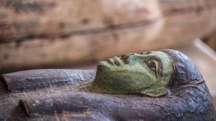 L'un des sarcophages mis au jour dans la nécropole de Saqqara, au sud du Caire, en Égypte (3 octobre 2020) (KHALED DESOUKI / AFP)
