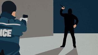 Image illustrant une des situations dans lesquelles les policiers auront le droit de faire feu, si le projet de loi sur la légitime défense présenté le 21 décembre 2016 en Conseil des ministres est adopté. (FRANCEINFO)