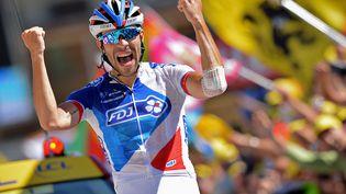 Thibaut Pinot remporte la 20e étape à L'Alpe d'Huez, samedi 25 juillet. (DAVID STOCKMAN / BELGA MAG / AFP)