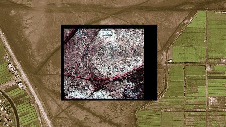 Image satellite de la NASA et de l'Université de l'Alabama de sites archéologiques en Egypteobtenue par le groupe dirigé par Sarah Parcak le 25 mai 2011. Dans l'encadré (photo infra rouge) : ensemble de rues et de maisons de l'anncienne cité de Tanis, aujourd'hui ensevelie.  (HO / UNIVERSITY OF ALABAMA / AFP)