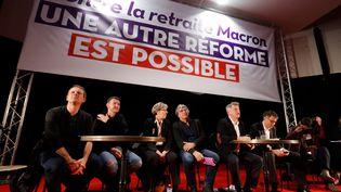 Une réunioncontre la réforme des retraites réunissant plusieurs personnalités venuesde différentspartis de gauches, le 11 décembre 2019 à Saint-Denis en Seine-Saint-Denis. Illustration. (FRANCOIS GUILLOT / AFP)
