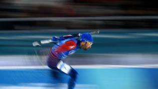 Le biathlète français Martin Fourcade en plein effort aux JO de Pyeongchang (Corée du Sud). (JONATHAN NACKSTRAND / AFP)