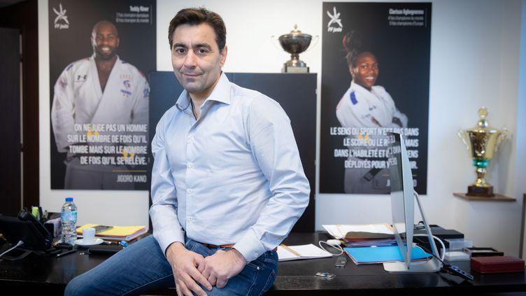 Stéphane Nomis, le nouveau président de la Fédération de judo (8 décembre 2020). (FRED DUGIT / MAXPPP)