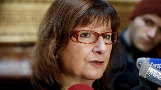 La présidente d'Amnesty International France Cécile Coudriou, le 21 février 2018, à Paris. (FRANCOIS GUILLOT / AFP)