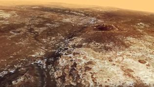 Capture d'écran d'une vidéo de l'Agence spatiale européenne reconstituant un survol de la planète Mars. (AGENCE SPATIALE EUROPEENNE / YOUTUBE)