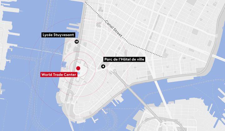 Carte de la zone de contaminationpar les poussières du World Trade Center. (JESSICA KOMGUEN / FRANCEINFO)