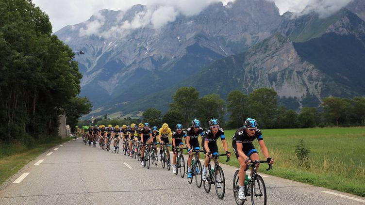 L'équipe Sky mène le peloton lors de la 18e étape du Tour de France, le 18 juilllet 2013, entre Gap et l'Alpe d'Huez. (DOUG PENSINGER / GETTY IMAGES EUROPE)