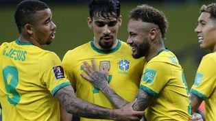 Neymar, buteur et passeur avec le Brésil lors d'un match comptant pour les éliminatoires de la Coupe du monde 2022 face à l'Équateur, le 4 juin 2021. (SILVIO AVILA / AFP)