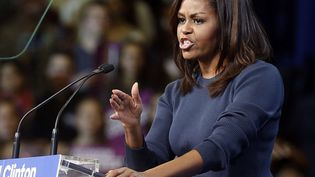 Michelle Obama, le 13 octobre 2016 à Manchester (Etats-Unis). (JIM COLE / AP / SIPA)