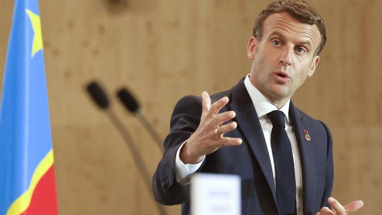 Le président français, Emmanuel Macron, le 18 mai 2021 à Paris. (LUDOVIC MARIN / AFP)