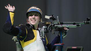 L'américaine Virginia Thrasher, médaille d'or du tir à la carabine à 10m, le 6 août 2016 à Rio. (FRISO GENTSCH / DPA)