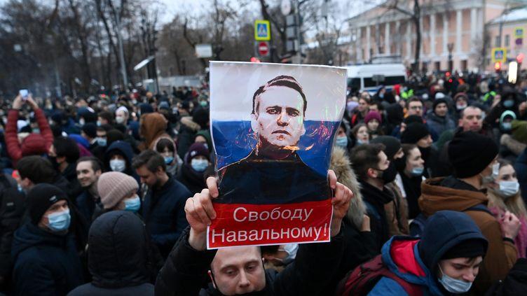 Manifestation en soutien à Alexeï Navalny, le 23 janvier 2021 à Moscou. (KIRILL KUDRYAVTSEV / AFP)