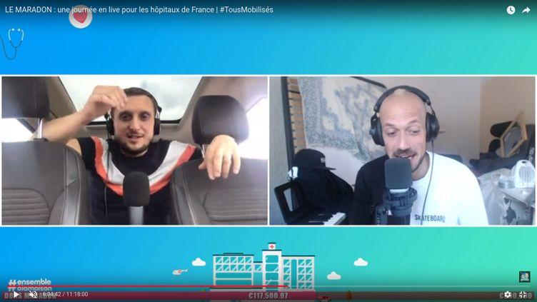 """Capture d'écran du """"maradon"""" organisé par Mcfly & Carlito sur leur page YouTube, le 2 avril 2020. (Mcfly & Carlito / YOUTUBE)"""