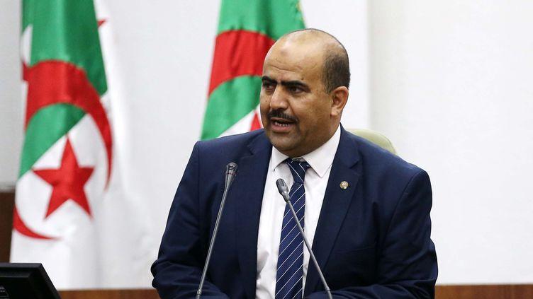 Le nouveau président élu du parlement algérien, Slimane Chenine, dirigeant d'une alliance parlementaire de trois petits partis islamistes, Ennahdha, Adala et El Bina, prononce un discours, le 10 juillet 2019 à Alger. (- / AFP)