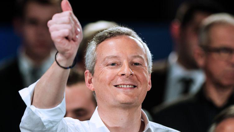 Bruno Le Maire, député des Républicains l'Eure, à Vesoul (Haute-Saône),annoncesacandidature à la primaire de la droite et du centre pour la présidentielle de 2017, le 23 février 2016. (SEBASTIEN BOZON / AFP)