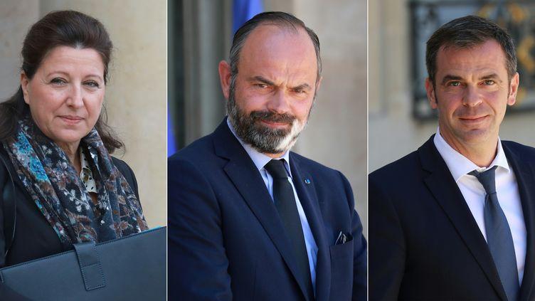 L'ancienne ministre de la Santé Agnès Buzyn, l'ancien Premier ministre Edouard Philippe et l'actuel ministre de la Santé,Olivier Véran. (LUDOVIC MARIN / AFP)