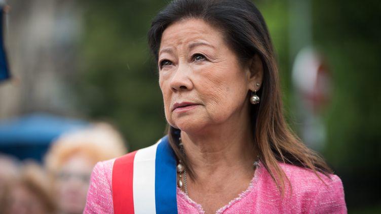 Jeanne d'Hauteserre, maire du 8e arrondissement de Paris, lors de l'inauguration de la Place de l'Europe-Simone Veil au mois de mai dernier. (ALEXIS SCIARD / MAXPPP)