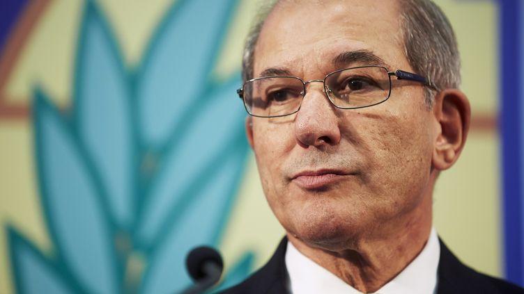 Ahmet Uzumcu, directeur général de l'Organisation pour l'interdiction des armes chimiques, le 9 octobre 2013, à La Haye (Pays-Bas). (MARTIJN BEEKMAN / AFP)