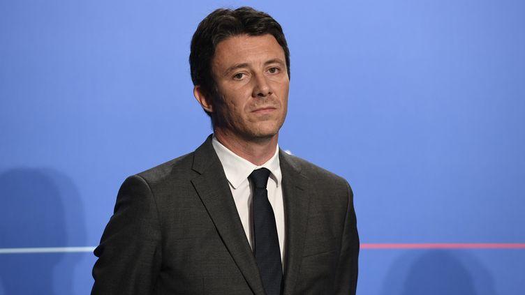Benjamin Griveaux, le porte-parole du gouvernement, à la conférence de presse qui suit le Conseil des ministres, le 18 juillet 2018 à Paris. (BERTRAND GUAY / AFP)
