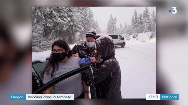 États-Unis : une séance de vaccination contre le Covid-19 en pleine tempête de neige