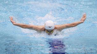 Le nageur japonaisRikako Ikee à Tokyo, le 20 février 2021. (POOI FOR YOMIURI / AFP)