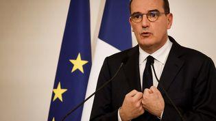 Le Premier ministre, Jean Castex, lors d'une conférence de presse sur la situation sanitaire, le 22 octobre 2020 à l'Hôtel de Matignon, à Paris. (LUDOVIC MARIN / POOL / AFP)