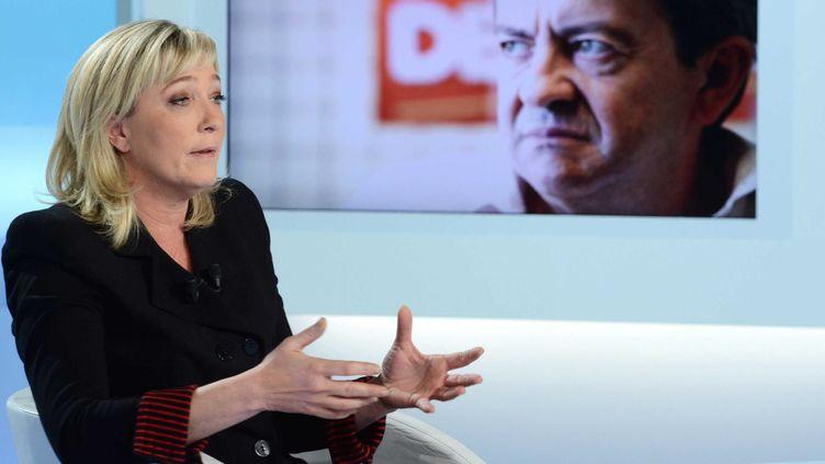 """La présidente du Front national dans l'émission """"C Politique"""", sur France 5, le 18 décembre 2011. (IBO / SIPA)"""
