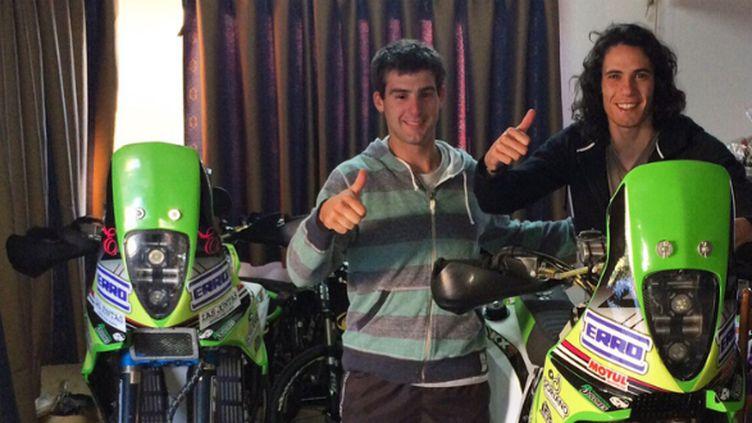Edinson Cavani avec son ami motard German Fernandez