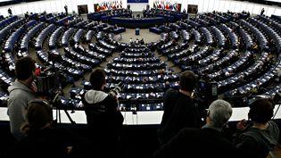 Une séance plénière du Parlement européen, le 14 février 2017 à Strasbourg. (ALEXANDROS MICHAILIDIS / SOOC / AFP)