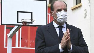 Le Premier ministre, Jean Castex, le 3 mai 2021 lors d'un déplacement dans une entreprise à Laxou (Meurthe-et-Moselle). (PATRICK HERTZOG / AFP)