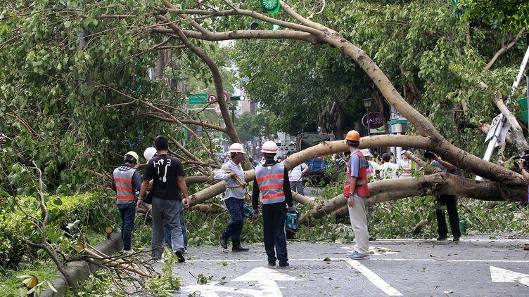 Des secouristes tentent d'enlever les arbres tombés sur la chaussée après le passage du typhon Dujuan, le 29 septembre 2015, à Taïwan. (PICHI CHUANG / REUTERS)