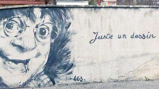 Juste un dessin, fresque en hommage aux victimes de Charlie Hebdo, Grand-Bornand  (DR)