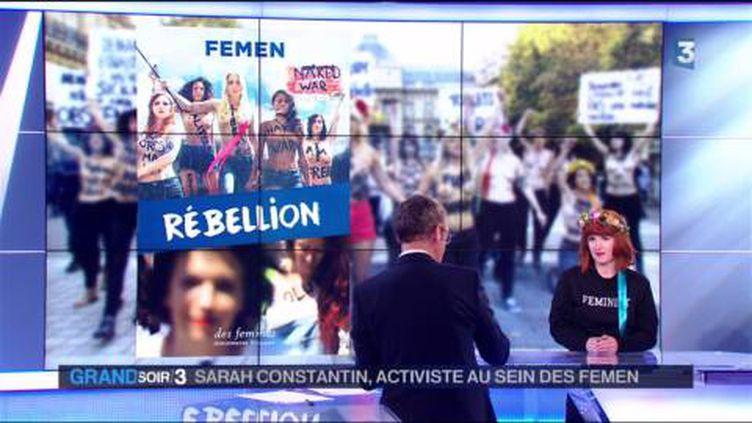 La couverture du livre Rébellion et son auteure la Femen Sarah Constantin (France 3)