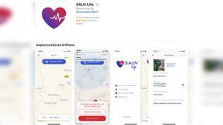 Capture d'écran de la présentation de l'application Sauv Life sur l'Apple Store. (Photo d'illustration) (CAPTURE ECRAN / FRANCEINFO)