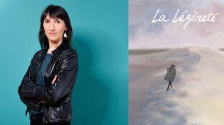 """Catherine Meurisse (mai 2016) et la couverture de """"La légèreté"""", qui sera adaptée au cinéma  (Jean-Philippe BALTEL/SIPA)"""