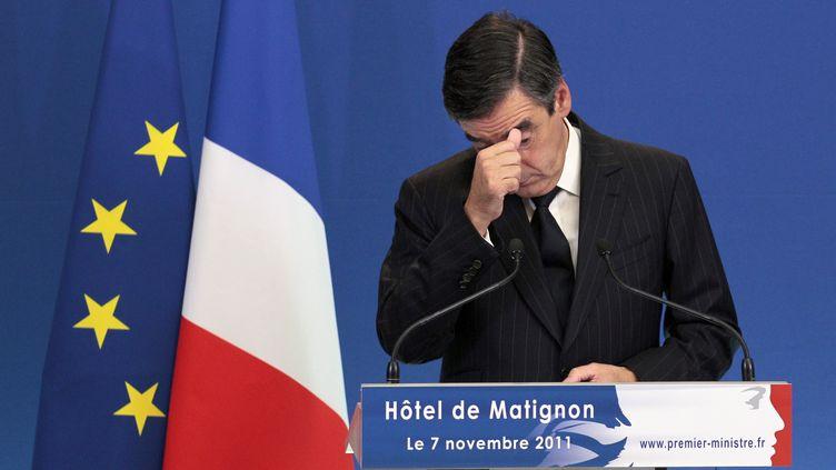 Le Premier ministre François Fillon, lors d'une conférence de presse à l'Hôtel Matignon, à Paris, le 7 novembre 2011. (JACQUES DEMARTHON / AFP)