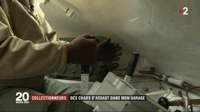 Dans le garage d'un collecteur de chars d'assaut