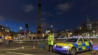 Un policier devant le Parliament Square à Londres où a eu lieu l'attaque, le 22 mars 2017. (JOEL FORD / AFP)