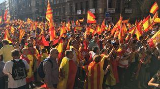 Les rues deBarcelone se remplissent de partisans contre l'indépendance de la Catalogne, dimanche 8 octobre. (MARC DANA / FRANCE 3)