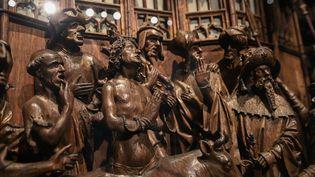 Détail du retable de Saint-Georges restauré, présenté à Bruxelles le 23 avril 2021 (LAURIE DIEFFEMBACQ / BELGA MAG / AFP)