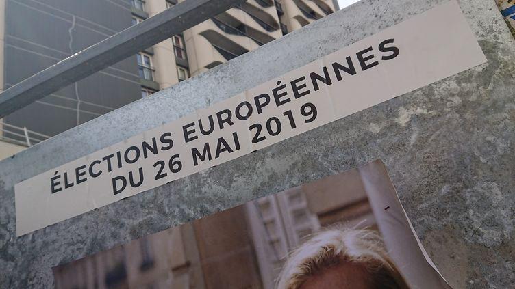 Illustration des affiches des candidats français pour les élections européennes du dimanche 26 mai. (RICCARDO MILANI / HANS LUCAS)