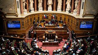 Le Sénat, lors d'une séance de questions au gouvernement, le 10 février 2021. (XOSE BOUZAS / HANS LUCAS)