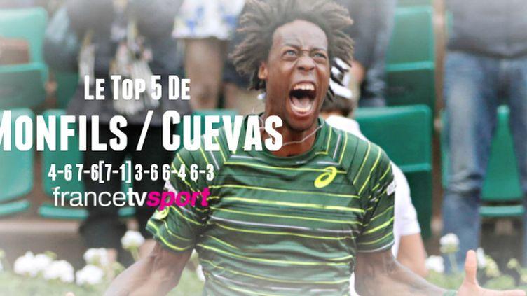 Gaël Monfils a gagné le match en cinq sets contre Pablo Cuevas.