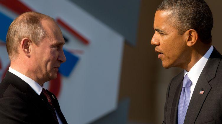 Vladimir Poutine et Barack Obama, lors du G20 à Saint-Pétersbourg (Russie), le 5 septembre 2013. (KAY NIETFELD / DPA / AFP)